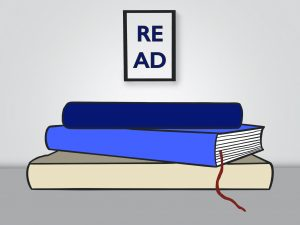 "stack of books drawing with a poster that says ""read"" in the background"